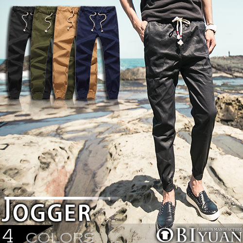 jogger慢跑褲【K99019】OBI YUAN韓版紅藍抽繩縮口/束口工作褲共4色