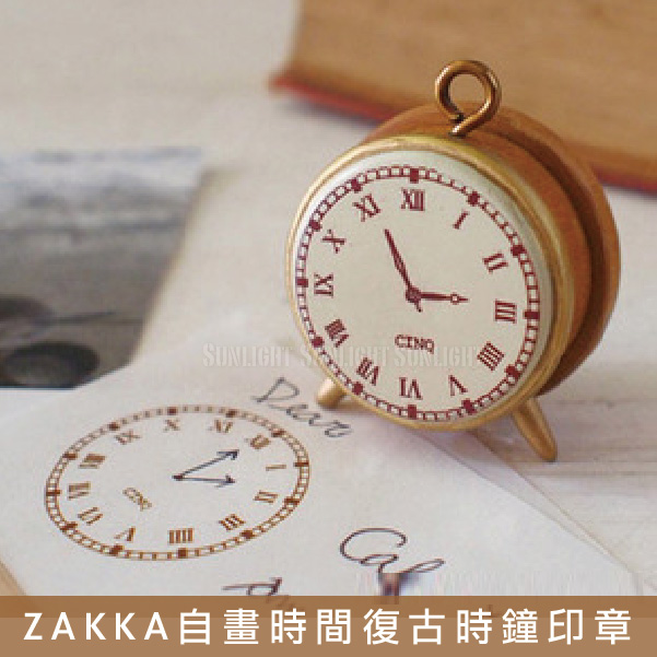 日光城。ZAKKA風格自畫時間復古時鐘印章,原木手帳日記懷舊鬧鐘木製(10005128)