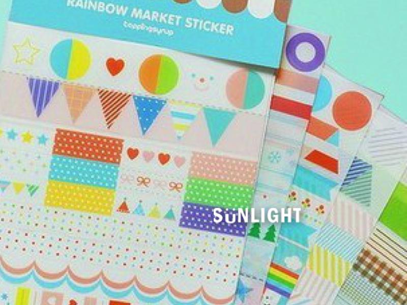 日光城【韓國藍色線條貼紙5202】Rainbow標簽目錄貼紙 日記貼/裝飾貼紙/DIY貼紙