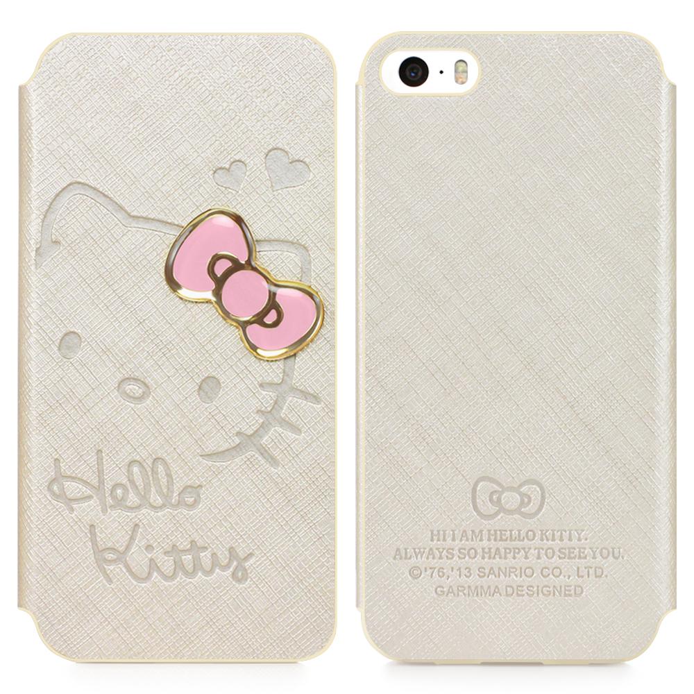 日光城。GARMMA Hello Kitty iPhone 5/5S 側掀式皮套-甜心金