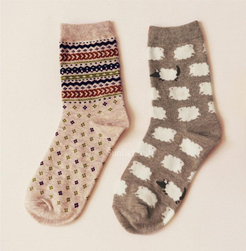 日光城。條紋綿羊-2雙組,caramella純棉襪長筒襪長統襪 可愛動物卡通雲朵 波西米亞紋路 白羊小羊