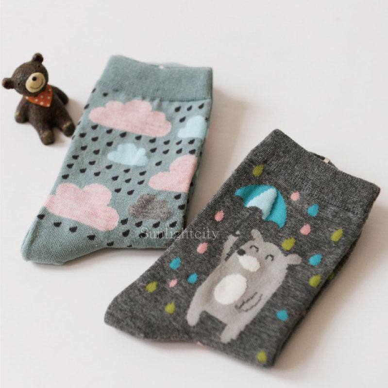 日光城。下雨小熊襪-2雙組,caramella純棉襪長筒襪長統襪 可愛動物卡通雲朵 雨滴灰熊