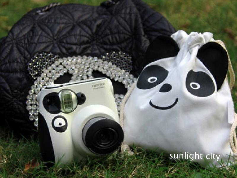 日光城。熊貓帆布束口袋,拍立得專用袋mini8 7s 25 50 55 mini90 類單眼相機收納包(3506)