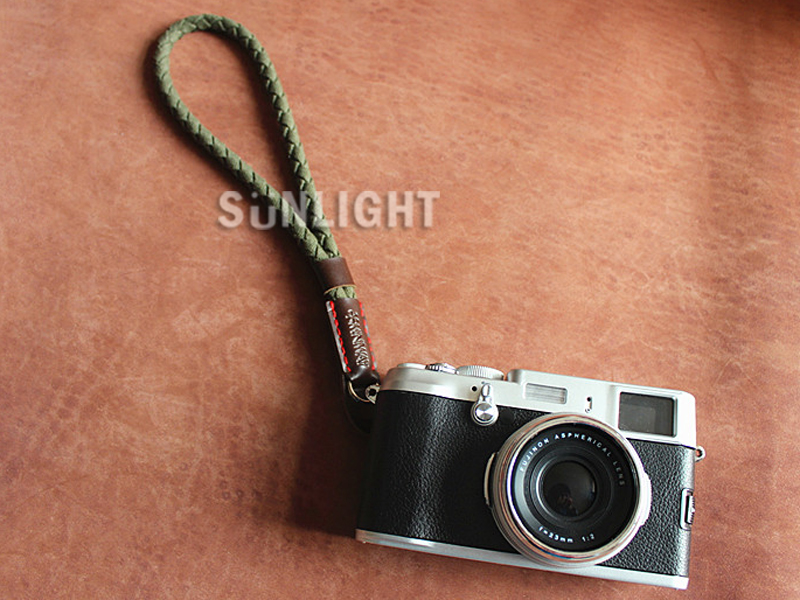 日光城。真皮棉繩編織手腕帶(挺版),相機手繩帶 手挽繩 手挽帶 固定帶 皮革gf6 gf5(4010)