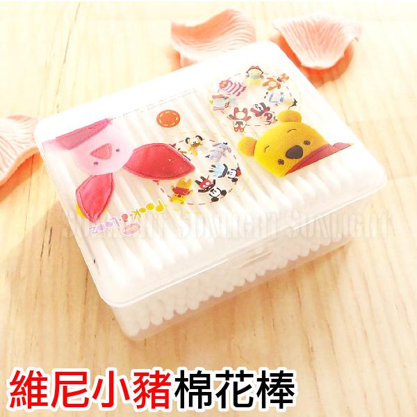 日光城。維尼小熊棉花棒盒裝200支,細緻純棉殺菌鼻清潔螺旋棉棒嬰兒細軸雙頭棉簽
