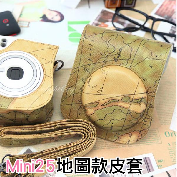 日光城。拍立得mini25地圖款皮套,instax富士相機包附背帶兩件式可拆磁扣 mini 25地圖包