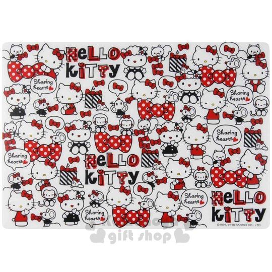〔小禮堂〕Hello Kitty 無黏膠多功能止滑墊《白.多動作.朋友.蝴蝶結.LOGO.42X29cm》