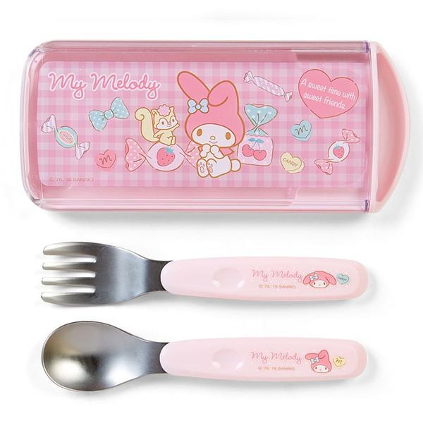 【真愛日本】16083000002日本製抽拉叉匙盒組-MD糖果    三麗鷗家族 Melody 美樂蒂  餐具組  叉子 湯匙 日本製
