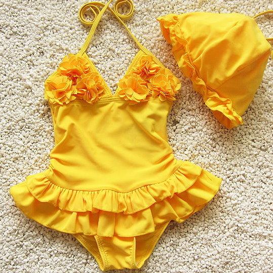 兒童嬰兒可愛花朵連體裙式游泳衣寶寶女童泳裝+泳帽-黃色