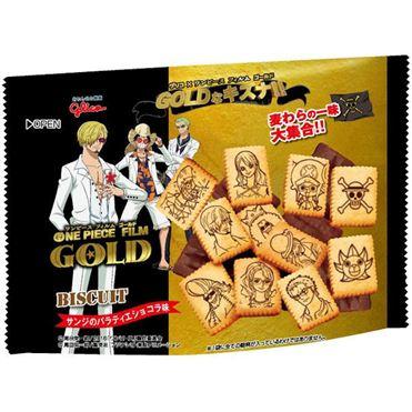 【Glico固力果】 ONE PIECE GOLD海賊王GOLD圖案餅乾-巧克力 59g