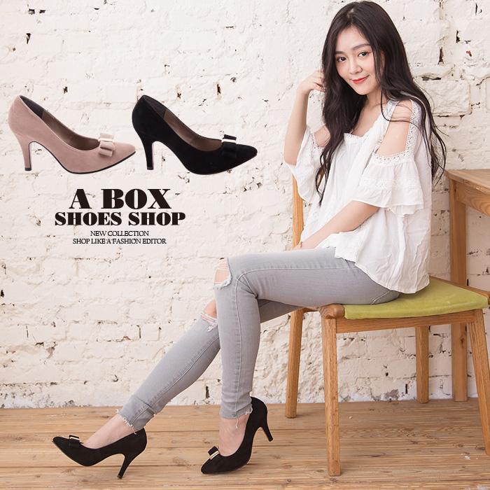 格子舖*【AA930】MIT台灣製 嚴選氣質蝴蝶結質感絨布 8.5CM細高跟鞋 尖頭包鞋 2色