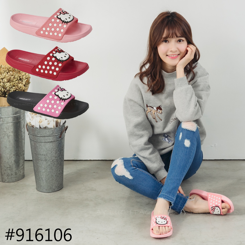 HELLO KITTY 凱蒂貓 916106 點點 一片式 厚底拖鞋 拖鞋 黑桃 / 紅 / 粉 熱賣款