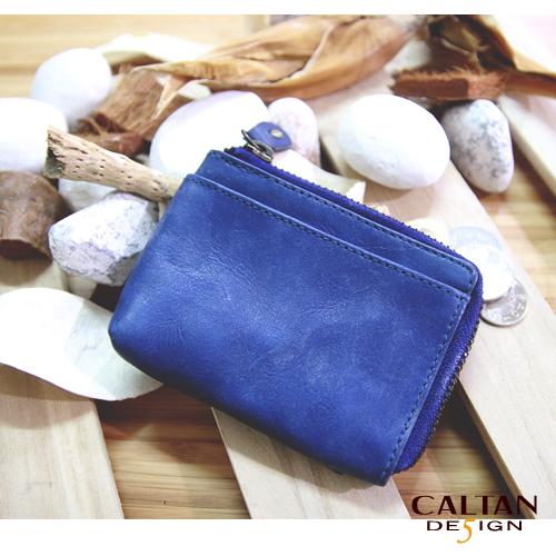 牛皮/零錢包【CALTAN】真皮L型拉鍊卡片小零錢包1821ht-blue
