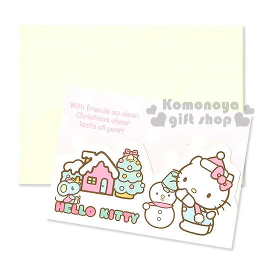 〔小禮堂〕Hello Kitty 造型三折聖誕卡片《S.粉黃.雪人.聖誕樹.房屋.點點》附信封