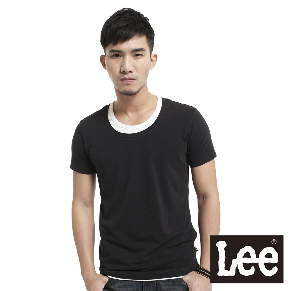【Super Sales 上衣下殺↘2.5折】Lee  假兩件圓領短袖T恤