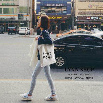 [全店免運,滿700現折$100]   帆布包 多款手提單肩帆布包 -ihatemonday字母【BA-8031】LYNNSHOP