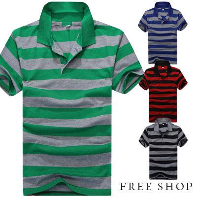 Free Shop【QTJT526】簡約時尚經典百搭配色棉質橫條紋立領短袖POLO衫‧四色 有大尺碼
