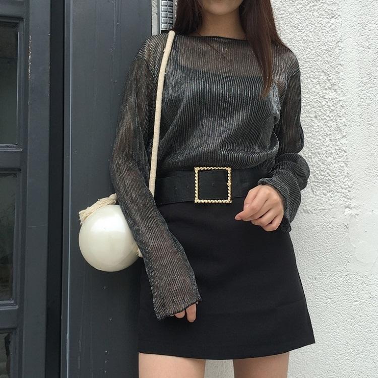 PS Mall 秋季韓版復古金屬絲褶皺感喇叭袖罩衫上衣T恤【T4147】