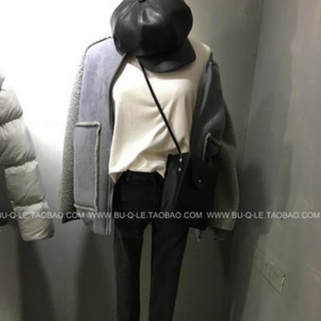 50%OFF【G019739C】拼接款休閒插肩袖溫暖羊羔毛拉鍊外套-防曬棒球外套夾克外套鋪棉外套西裝外套