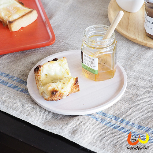ACACIA 圓形木製餐盤白色(中)