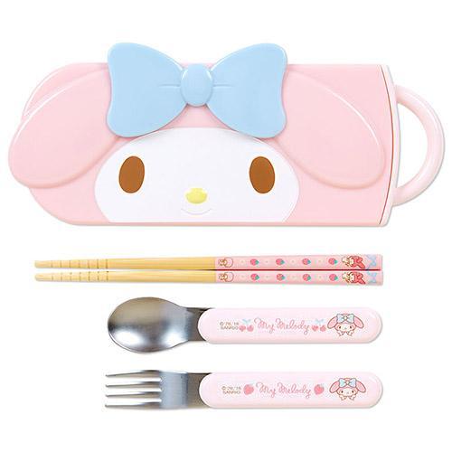 日本 Melody 美樂蒂   大臉造型三件組/湯叉筷 / 餐具組