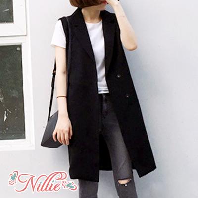 Nillie‧翻領排釦長版無袖西裝外套10/11(黑/藍)【N98478】