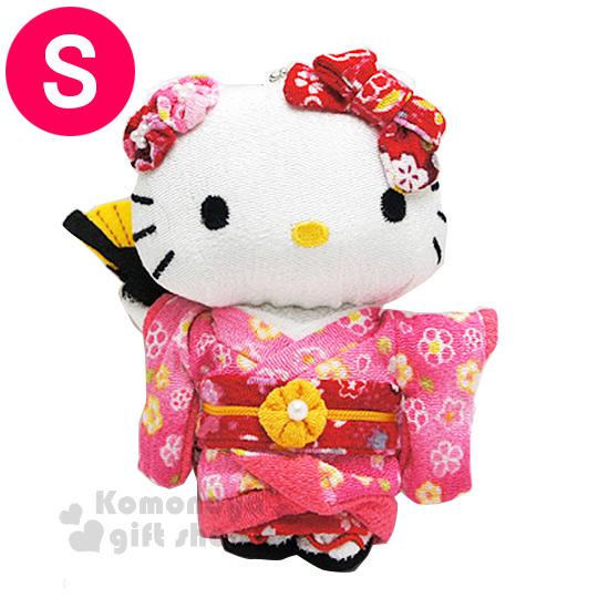 〔小禮堂〕Hello Kitty 造型玩偶娃娃吊飾《小.粉.站姿.和服裝扮.附珠鍊》葉朗彩彩