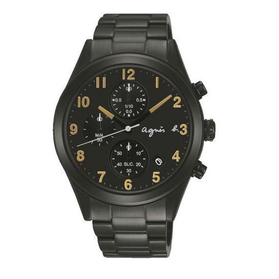 agnes b VD57-KT20K(BM3010X1)黑金巴黎時尚計時腕錶/黑面40mm