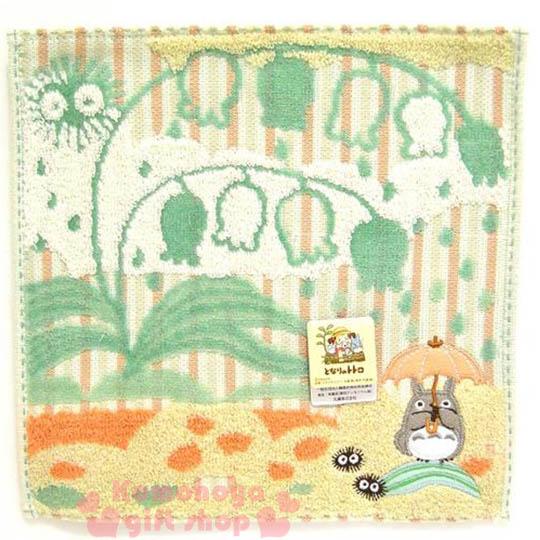 〔小禮堂〕宮崎駿Totoro龍貓 小方巾《橘綠.站姿.撐傘.鈴蘭花》23x23cm