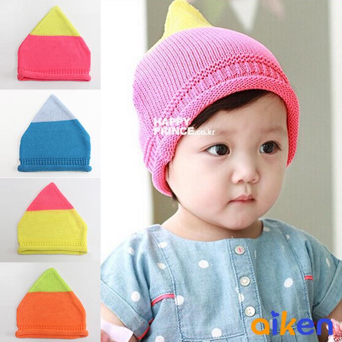 【艾肯居家生活館】兒童帽 嬰兒帽 兒童雙色毛帽 針織 保暖 毛帽 禮物 生日禮物 禮品  (上黃下粉 下單區)  -J1910-003