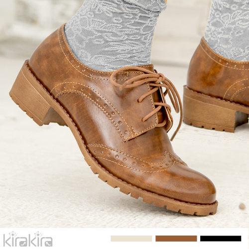 牛津鞋-MIT甜美女孩派復古登場線條低跟鞋-預購