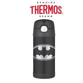 Baby Joy World-【美國 THERMOS 膳魔師】不銹鋼真空保溫瓶 軟式吸管式彈跳蓋 兒童學習水杯水壺-蝙蝠俠