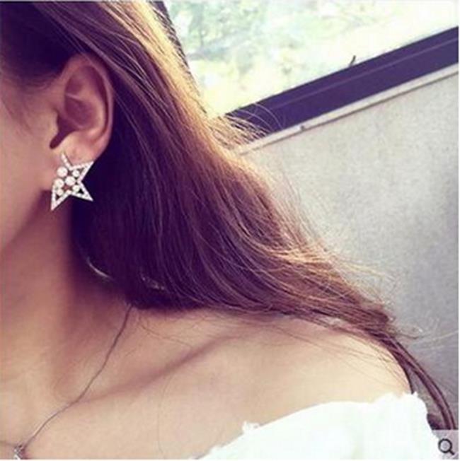 50%OFF【IU013292ER】韓國新款個性五角星耳釘鑲珍珠水鑽星星耳釘歐美誇張時尚裝飾品