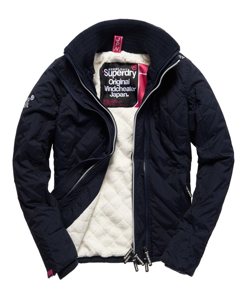 [女款] Outlet英國 極度乾燥 Superdry Hooded Sherpa 加厚保暖菱格紋絎縫羊羔絨防風衣 女款 海軍藍