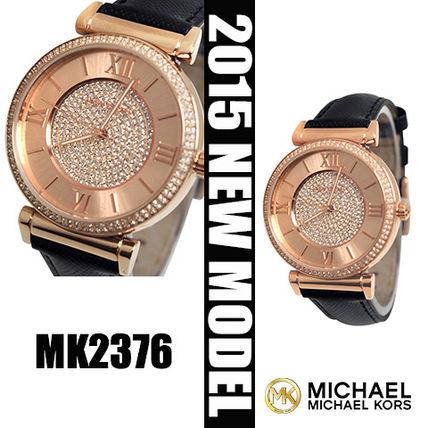 美國Outlet 正品代購 MichaelKors MK 玫瑰金鑲鑽 黑色皮帶三環計時手錶腕錶 MK2376