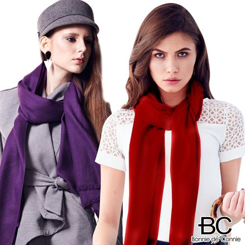 【嚴購網】法國BC 100%頂級純羊毛秋冬百搭輕暖披肩-(紫/紅)