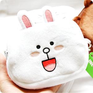 『樂魔派』LINE正版授權 方形拉鍊收納包 化妝包鉛筆盒筆袋 熊大兔兔饅頭人 隨身包 小物品收納 絨毛