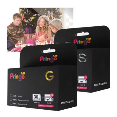 『樂魔派』HITI PRINGO P231用 隨意貼30張+色帶 香檳金 星河銀 貼紙式相紙 智慧型手機用