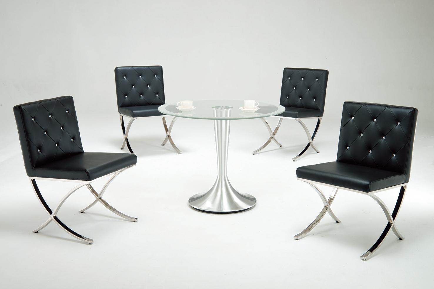 【 IS空間美學】造型90圓洽談圓桌+時尚貝拉晶鑽皮椅(1桌4椅)