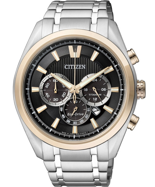CITIZEN星辰CA4015-54E雙色耀眼鈦光動能計時腕錶/黑面43mm