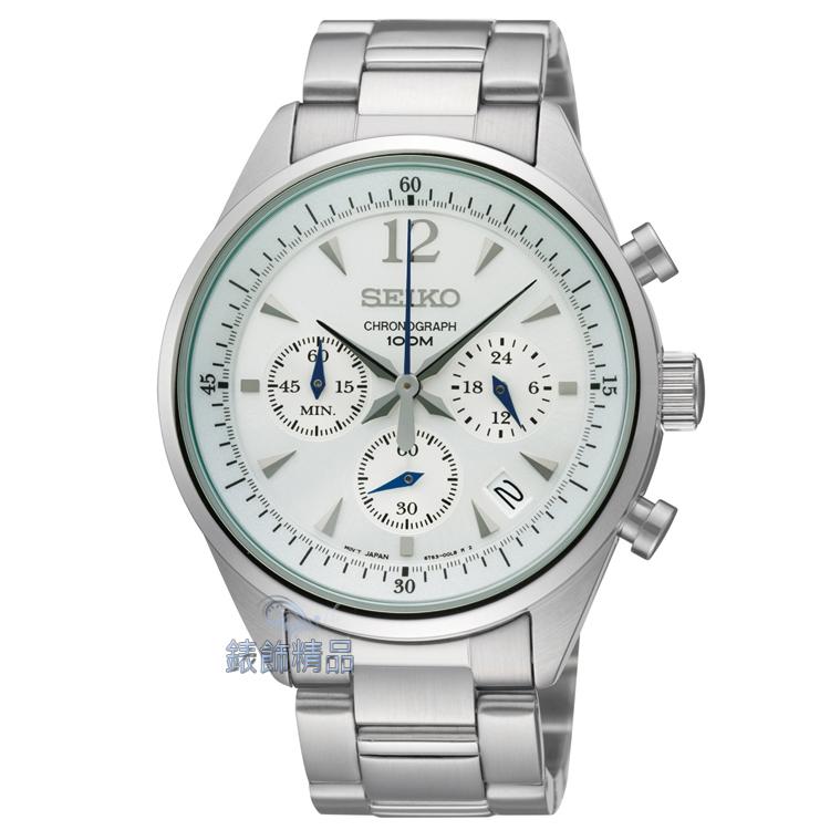 【錶飾精品】SEIKO錶 精工表 計時碼錶 日期 防水 白面鋼帶男表 SSB065P1.SSB065 全新原廠正品