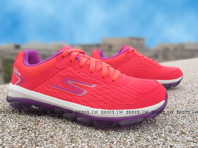 Shoestw【14230HPPR】SKECHERS 健走鞋 GO AIR 全新Q彈果洞底 桃紅紫 透氣 瑜珈鞋墊