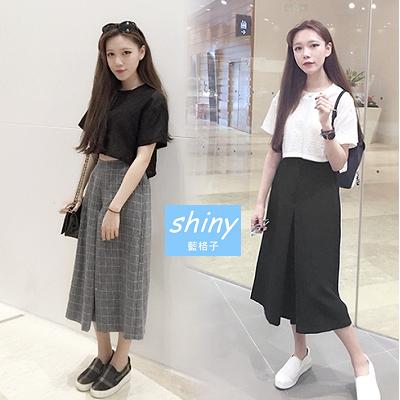 【V0665】shiny藍格子-百搭出眾.極簡鬆緊腰寬鬆百搭七分褲裙