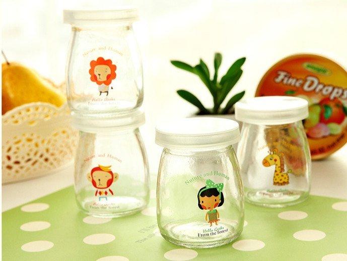 =優生活=可愛卡通玻璃牛奶瓶 果凍布丁瓶附蓋子耐高温優格玻璃罐 100ML