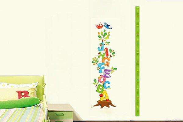 BO雜貨【YP2006】DIY可移動 創意牆貼/壁貼/身高貼/身高尺/兒童房佈置 卡通字母身高尺