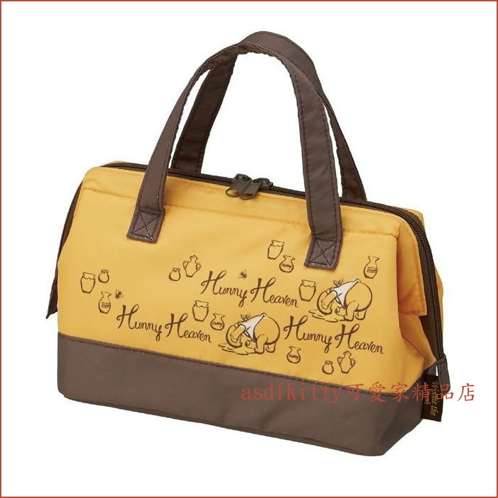 asdfkitty可愛家☆小熊維尼寬口拉鍊輕量保溫便當袋/手提袋/購物袋-也可保冷-日本正版商品