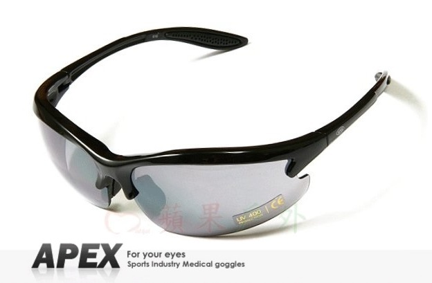 【【蘋果戶外】】APEX 610 黑 台製 polarized 抗UV400 寶麗來偏光鏡片 運動型太陽眼鏡 可加購近視鏡框 附原廠盒、擦拭布(袋)
