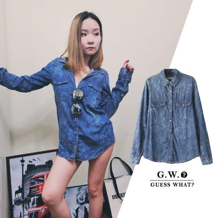 GW【牛仔刷白棉質襯衫】 深藍色 棉質長袖 上衣 外套 綁腰 防曬外套 G.W.GUESSWHAT pa