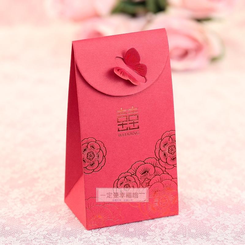 一定要幸福哦~~喜字燙金喜糖盒(蝴蝶) 婚禮小物,送客喜糖