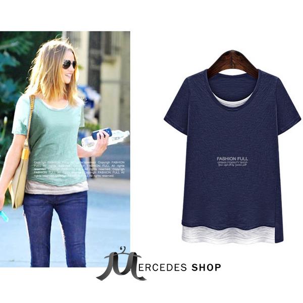 [現貨出清6折] 歐美大尺碼假兩件拼色T恤-XL-5XL - 梅西蒂絲